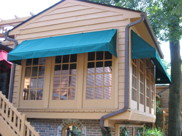 Residential Window Awnings : Window awnings with a flat valance kreider s canvas
