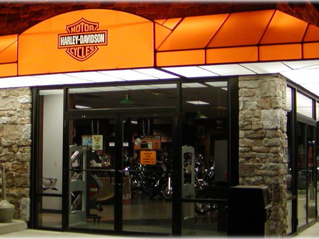 Backlit Awning Service Entrance At Lancaster Harley