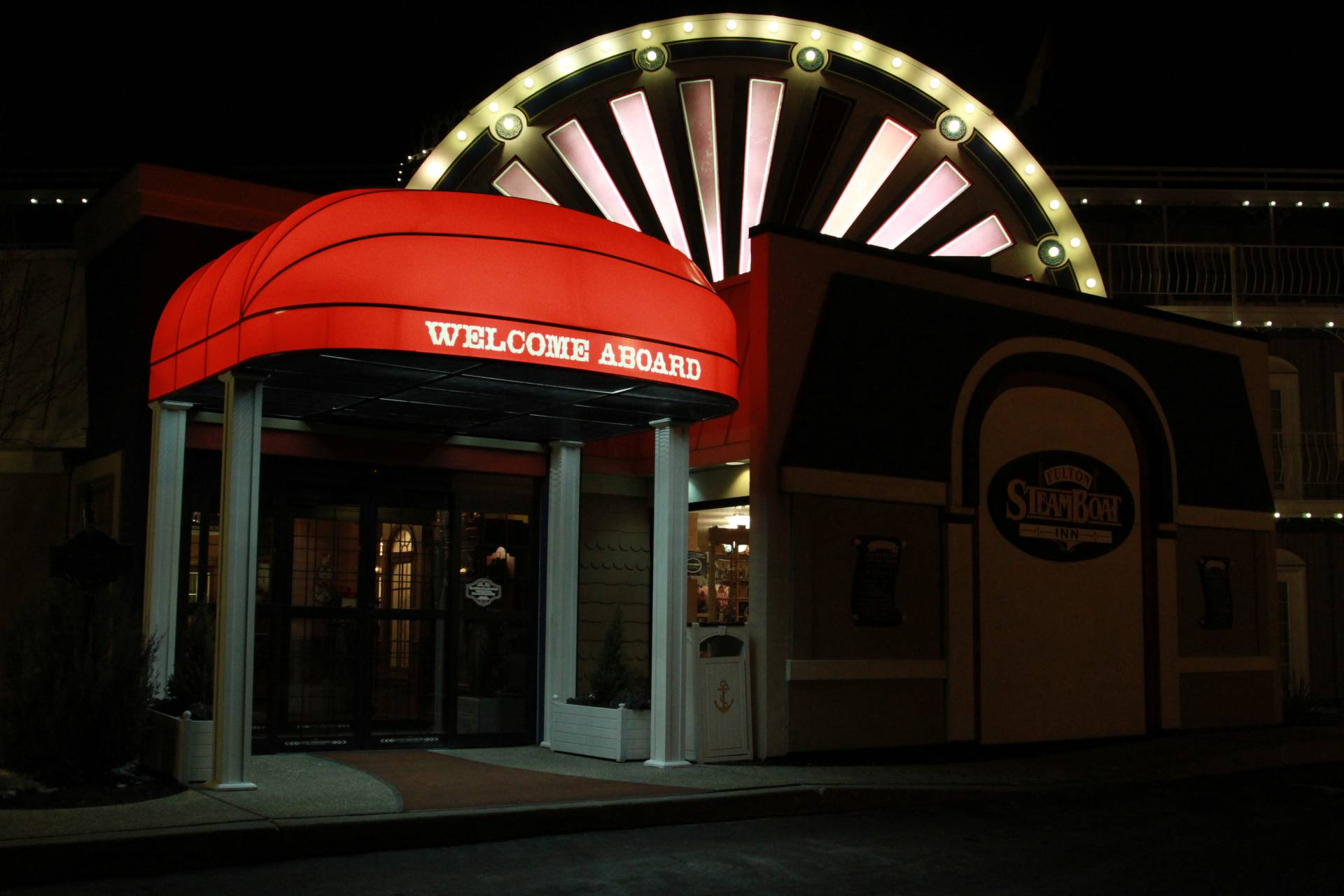 Backlit Entrance Canopy Steamboat Inn Kreider S Canvas