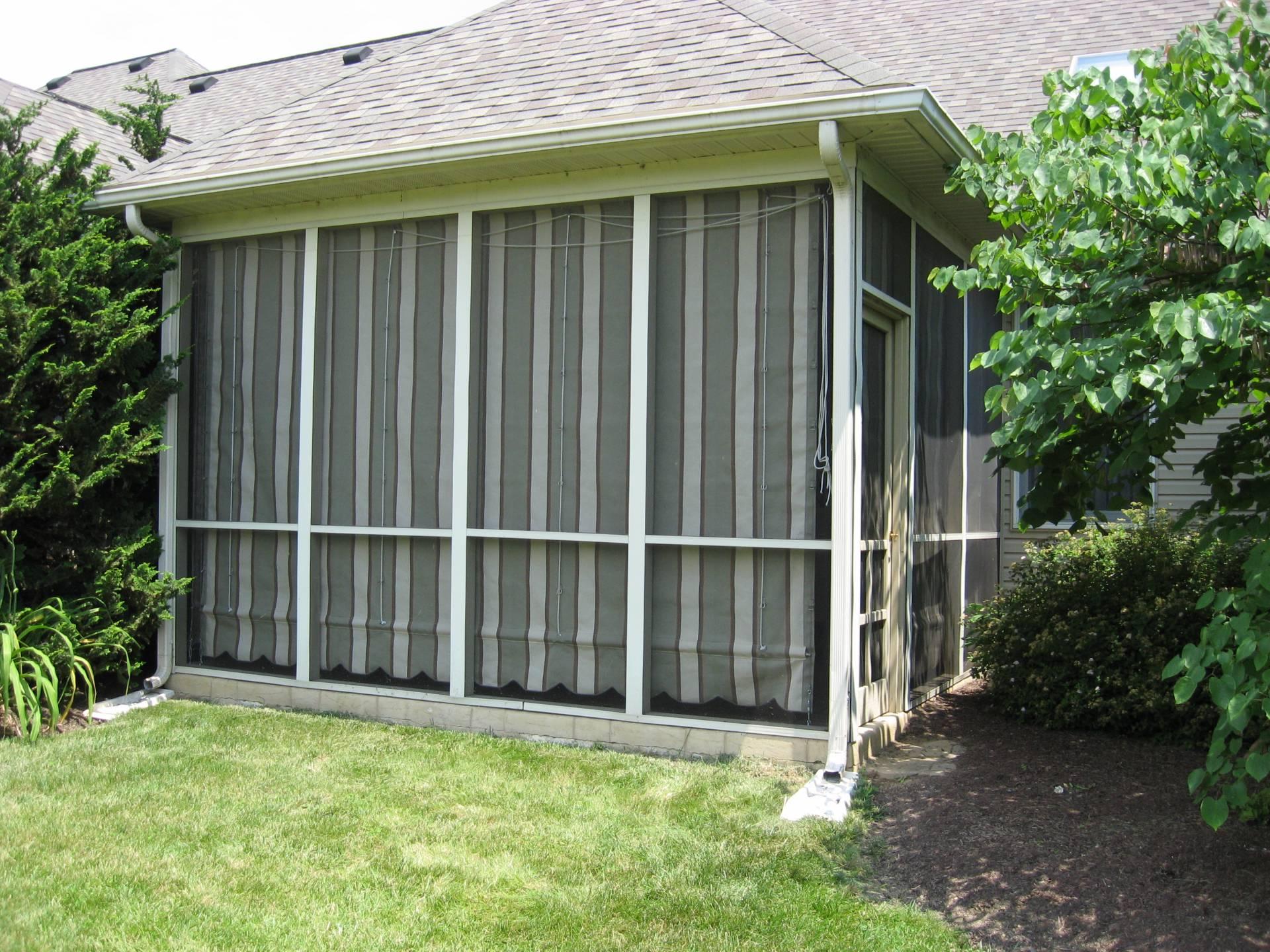 Sunbrella drop curtains for a screen porch kreider 39 s for Canvas privacy screen outdoor