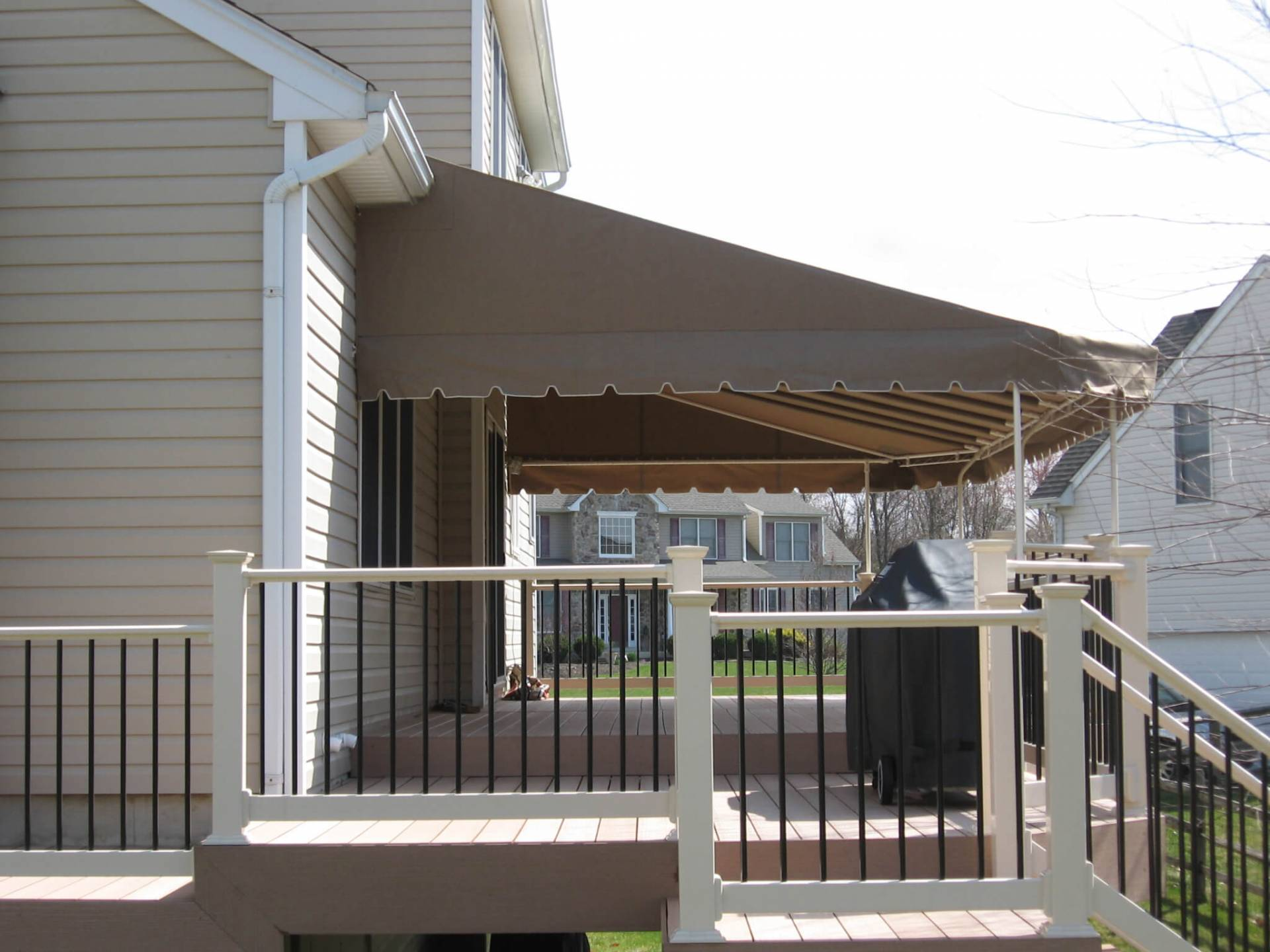 custom awning fans deck ceiling powder a and large frame coated featuring pin