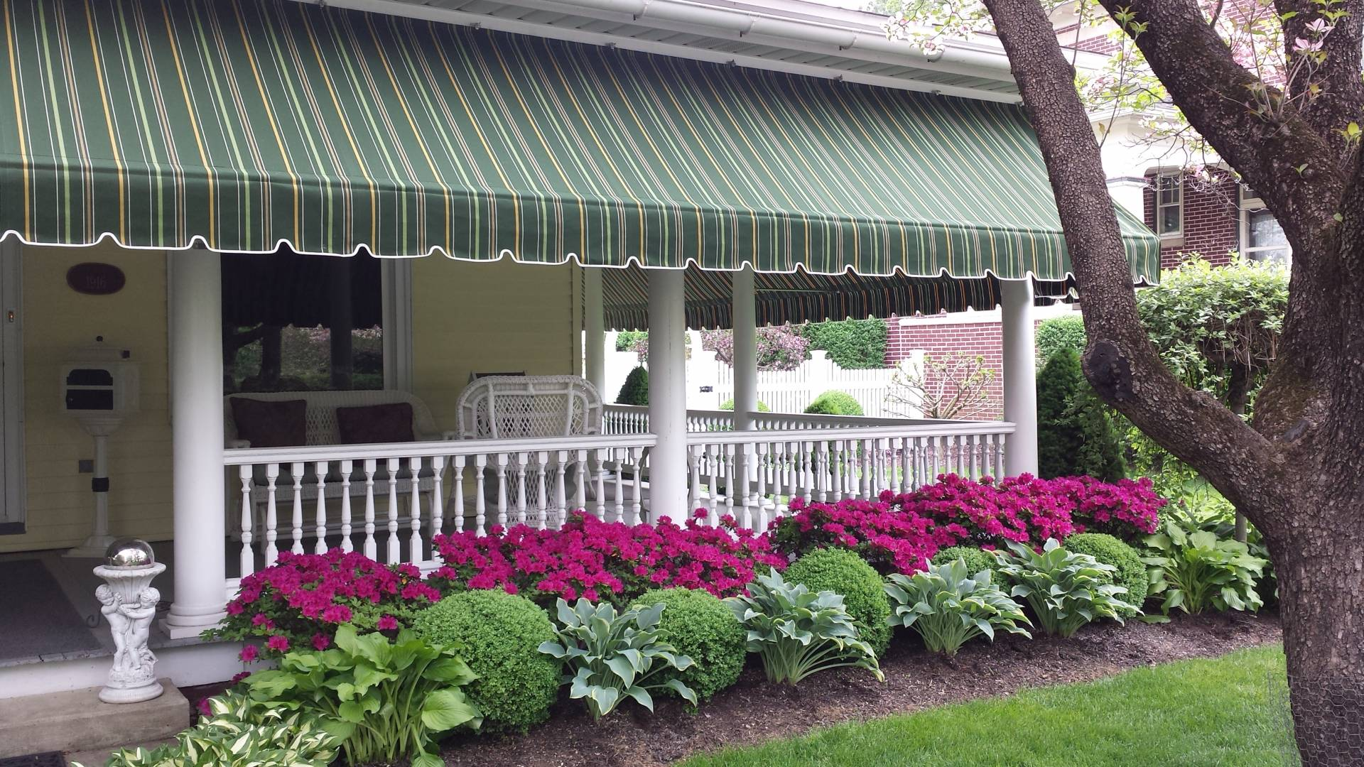 Striped Porch Awning | Kreider's Canvas Service, Inc.