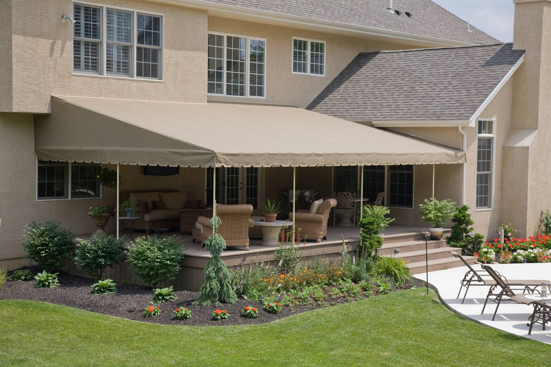 s kreider patio mount on canopy awning stationary a inc project roof canvas copy deck attachment service