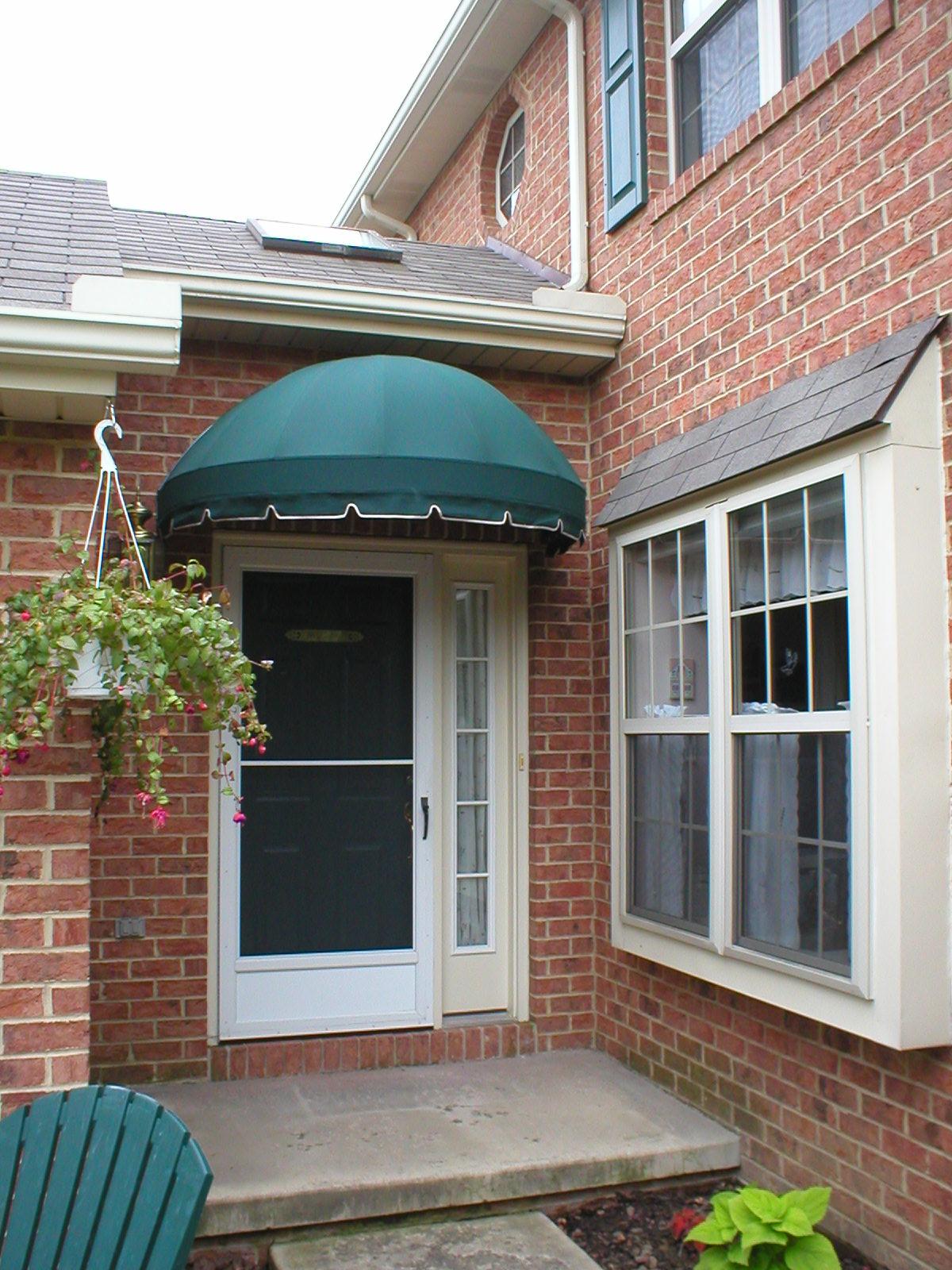Green Sunbrella fabric Bullnose style canvas doorhood ...