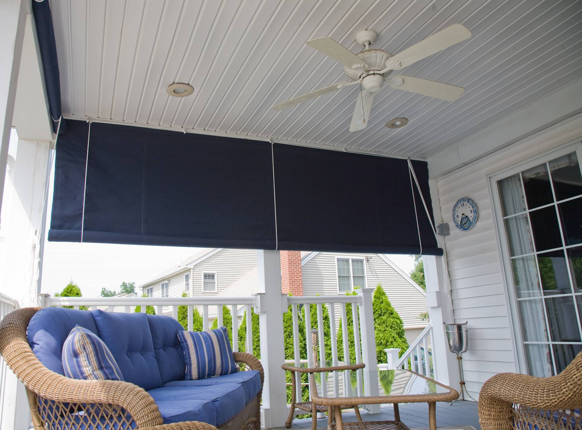 Drop Curtain Installed On A Porch Kreider S Canvas