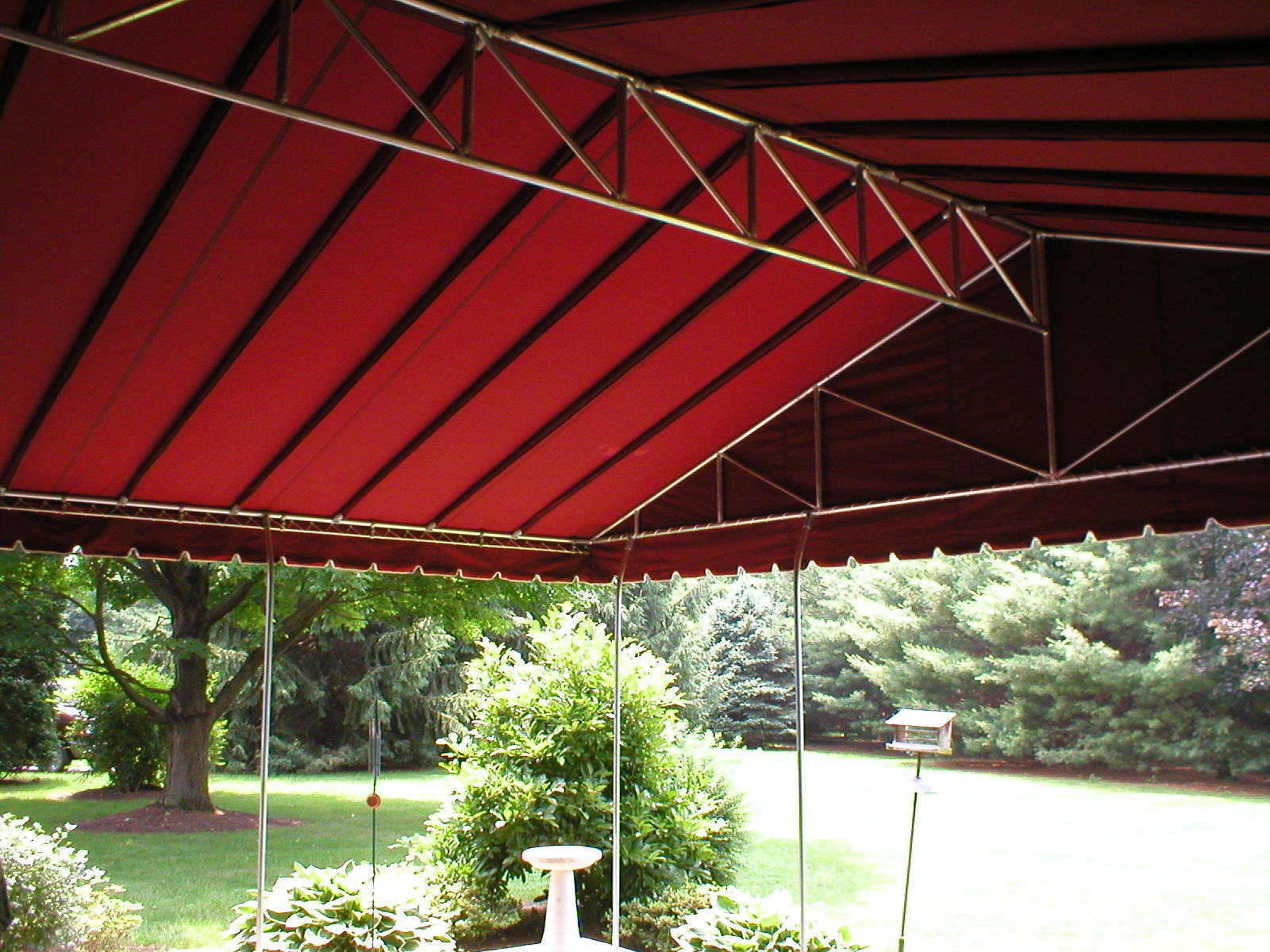 Gable Style Canopy With Striped Sunbrella Fabric East