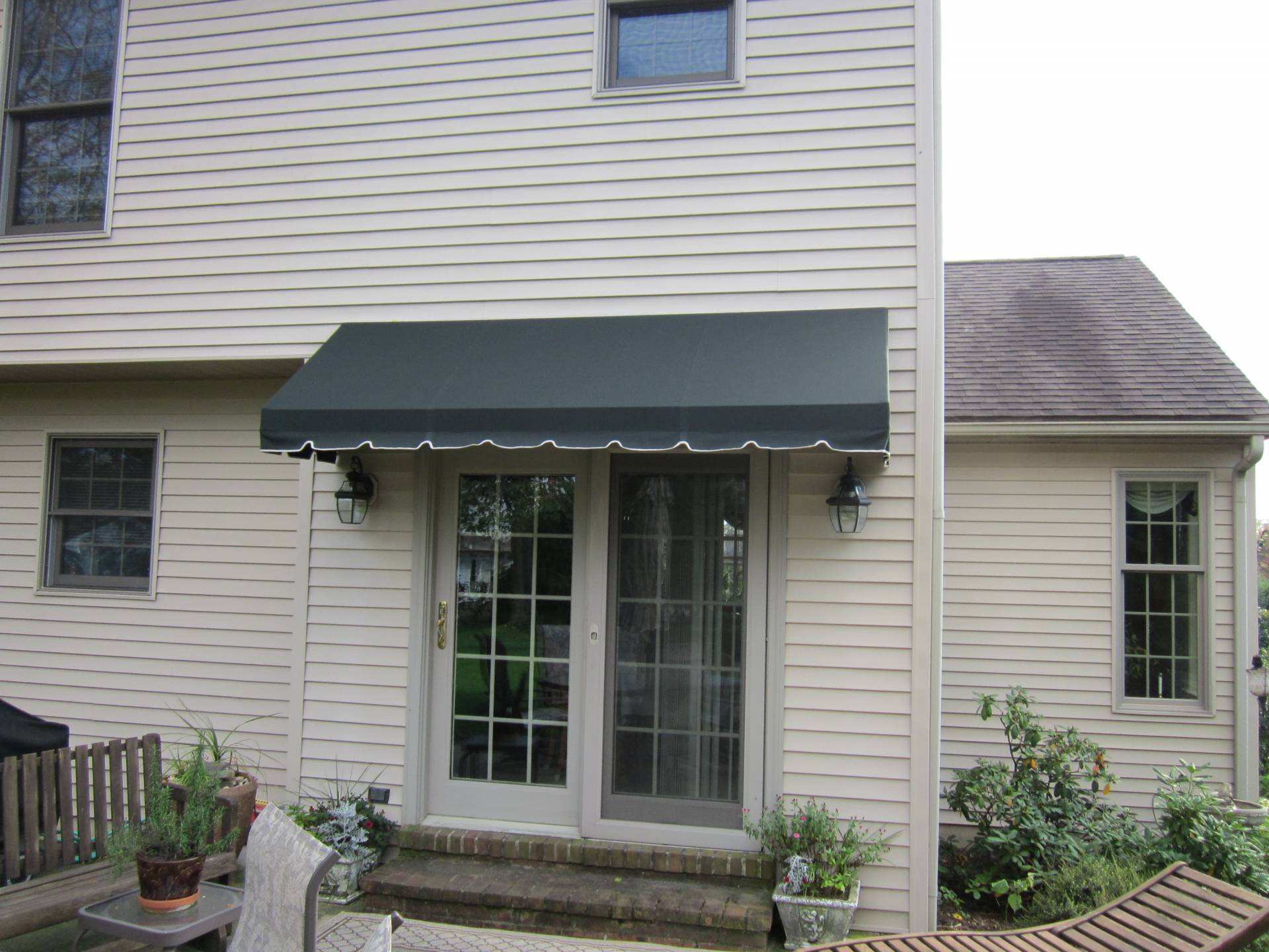 Doorhood awning over a french door | Kreider's Canvas ...