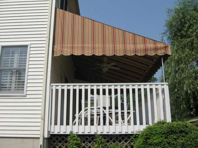 Sunbrella fabric awning with galvanized steel frame and ceiling fan option