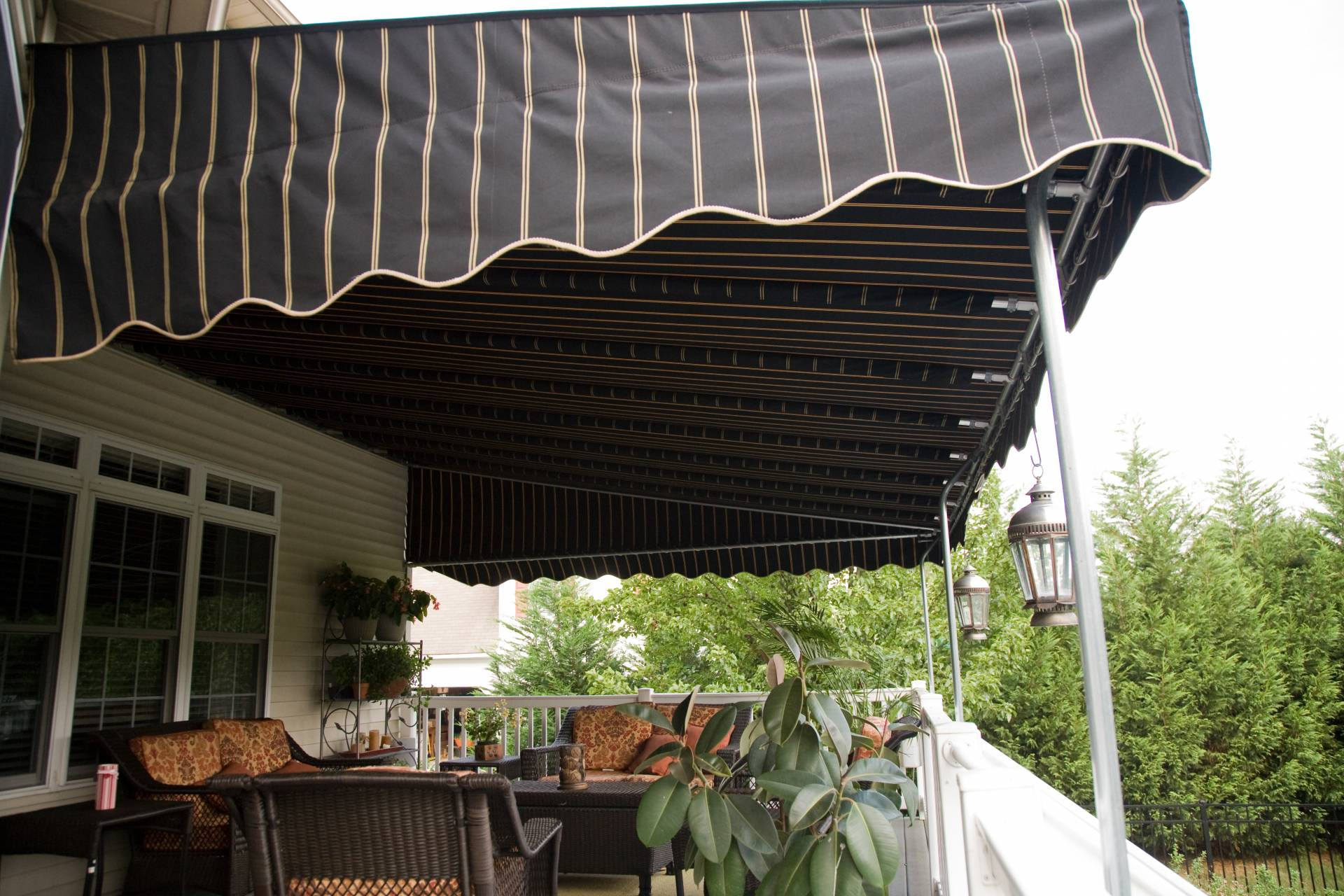 Wall Mounted Sunbrella Deck Awning Cooper Black Stripe