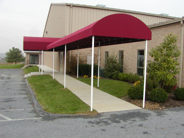 Commercial awning over walkway
