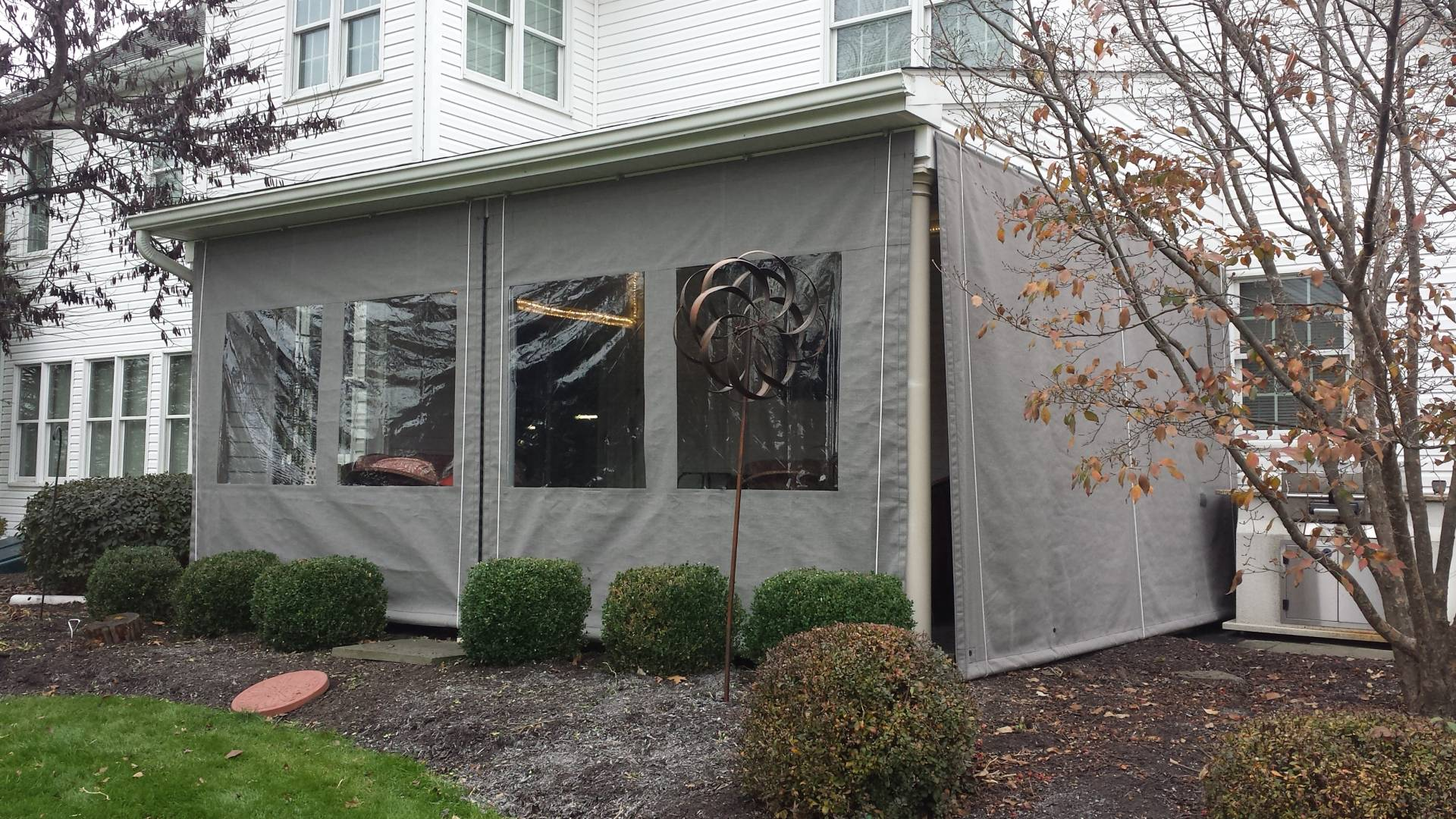 Porch Enclosure - clear vinyl drop curtains Lancaster PA ... on Patio Cover Ideas For Winter id=31162