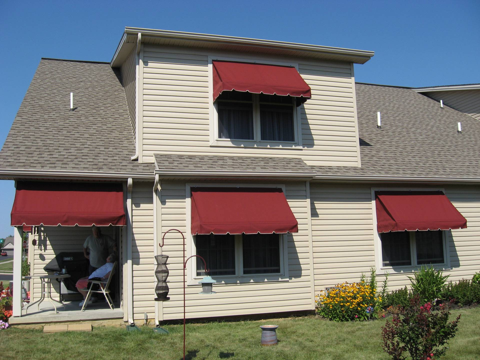 Window awnings - showing how the awnings provide shade for ...