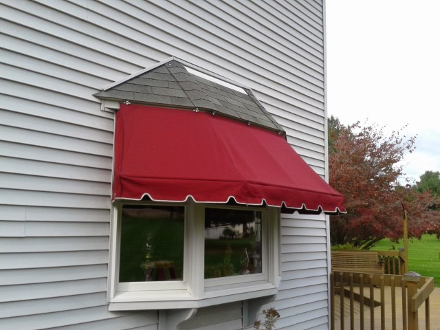 Traditional window awning with threaded galvanized frame