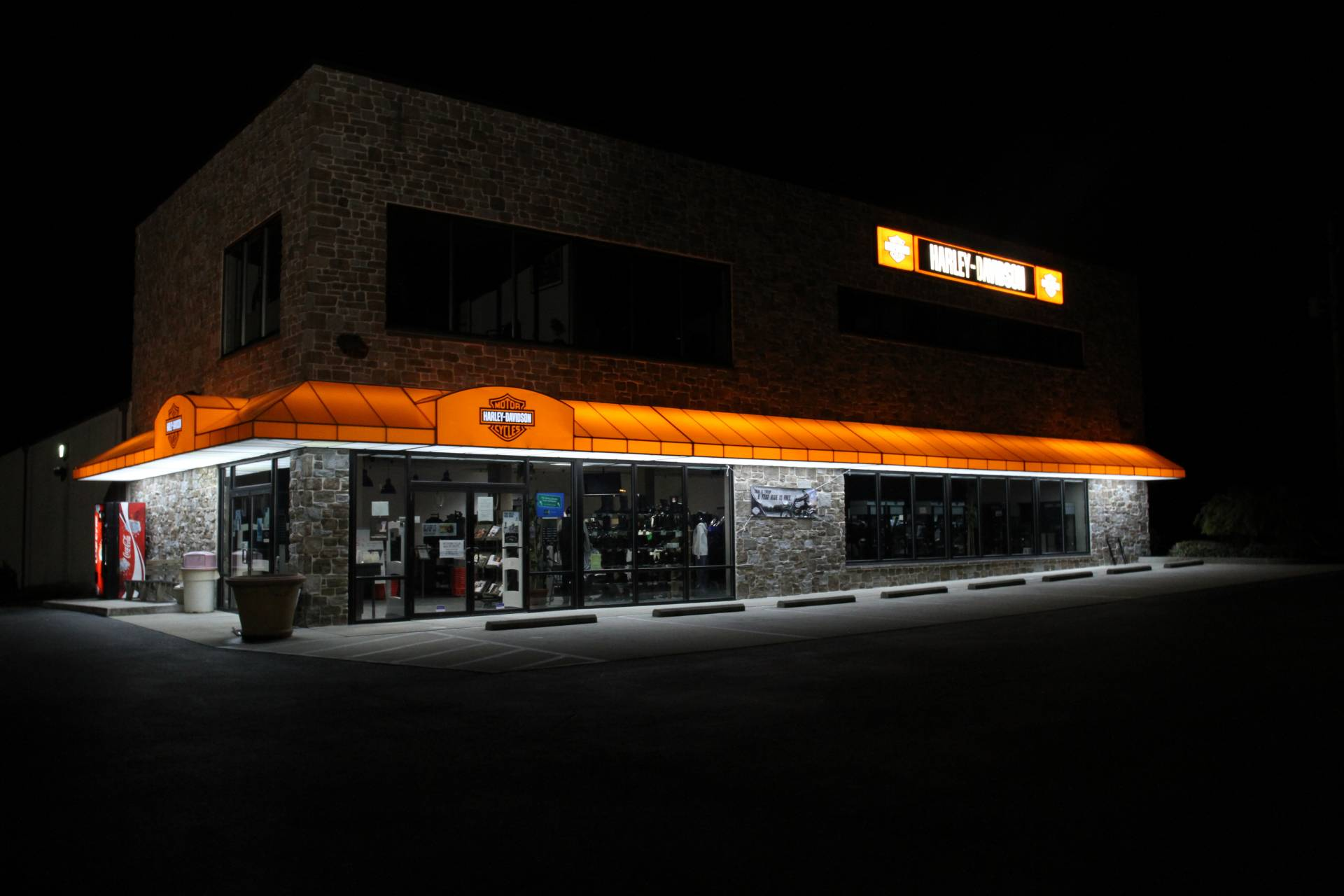 Backlit Awning Service Entrance At Lancaster Harley