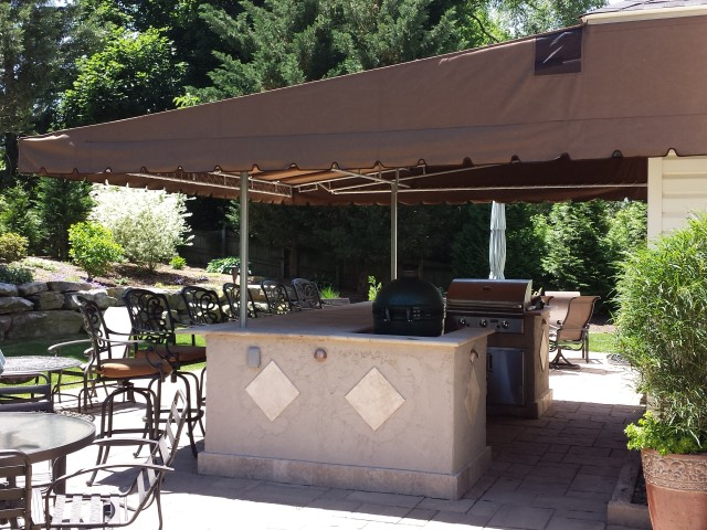 Fabric patio awning fixed canopy deck cover