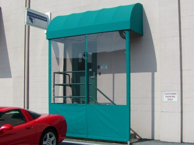 Arched rounded top convex commercial awning