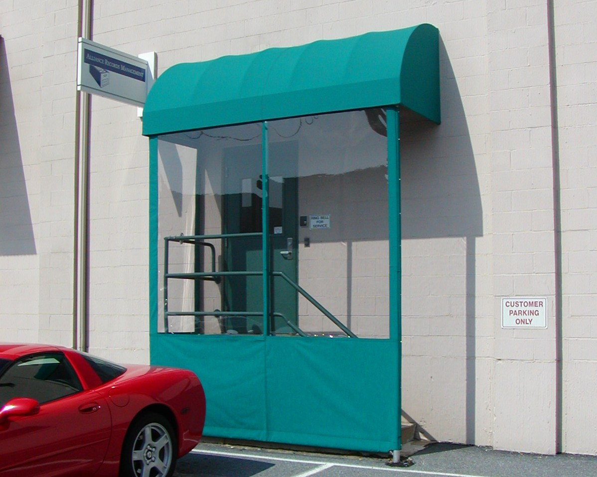 Commercial Doorhood Awning With Clear Side Panels
