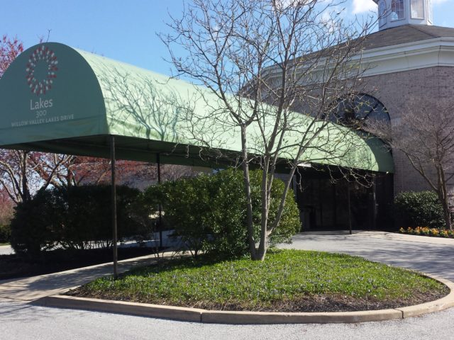Retirement home carport entrance awning