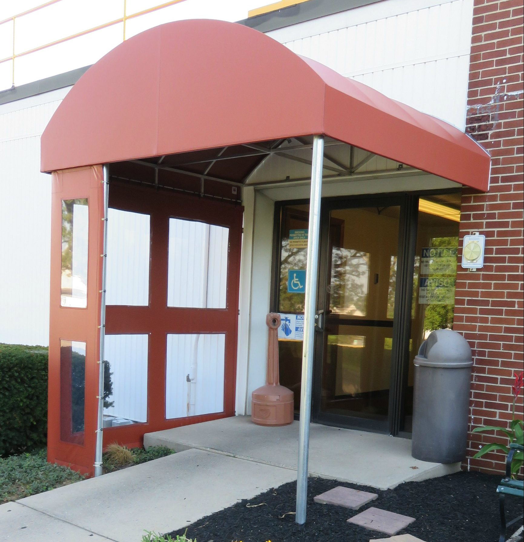Entrance canopy with clear vestibule panels | Kreider's Canvas Service, Inc.