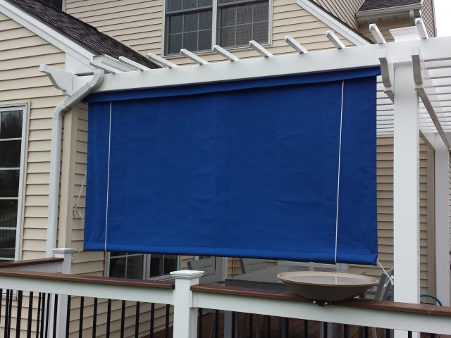 Blue fabric drop curtain