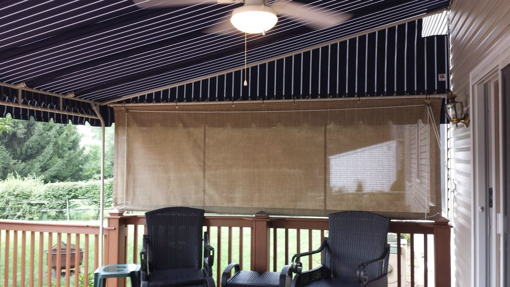 Mesh Drop Curtain Installed On A Canopy Kreider S Canvas