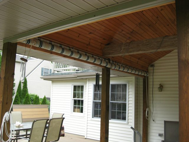 Drop Curtains Installed On A Porch Sunbrella Fabric
