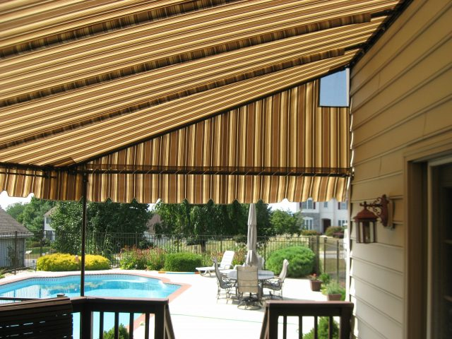 Stationary deck awning canopy
