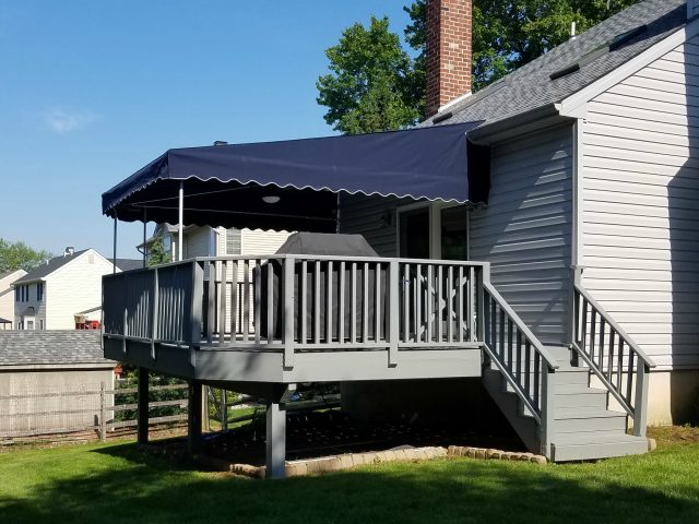 Patio awning cover with ceiling fan and light kit