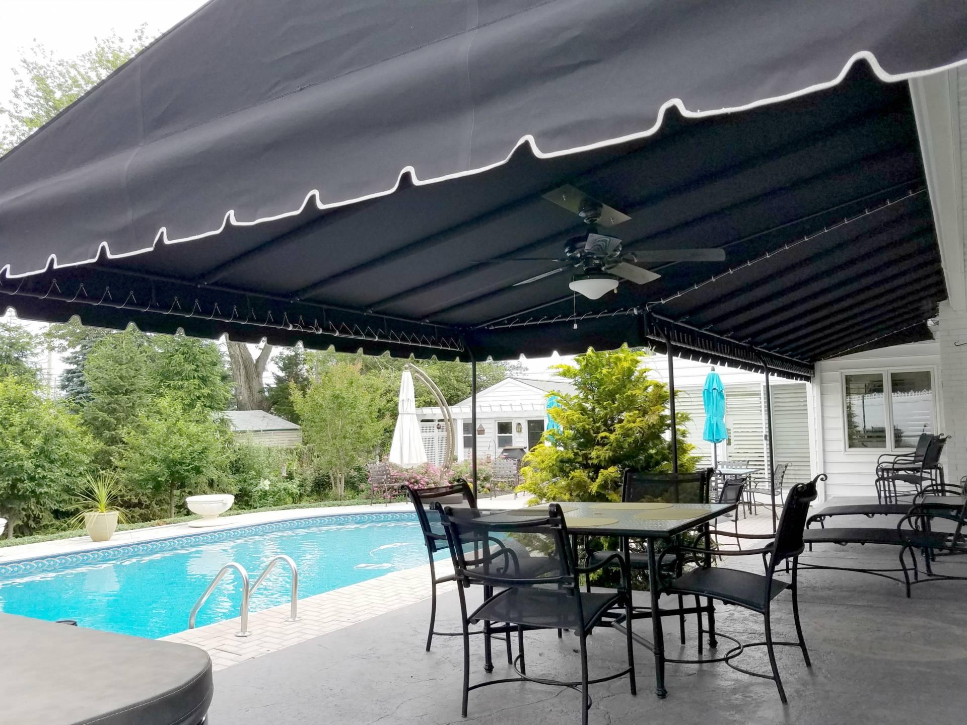 Black Sunbrella Canopy By The Pool Kreider S Canvas