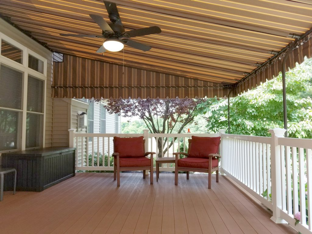 Mocha Striped Sunbrella Deck Canopy Kreider S Canvas Service Inc