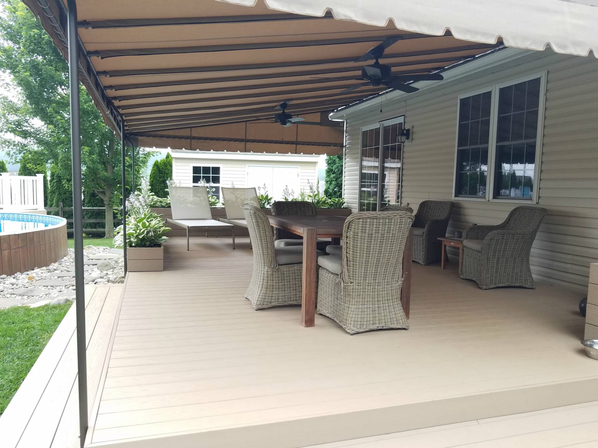 beautiful install pin living canopy by awning stationary your outdoor pool shade deck