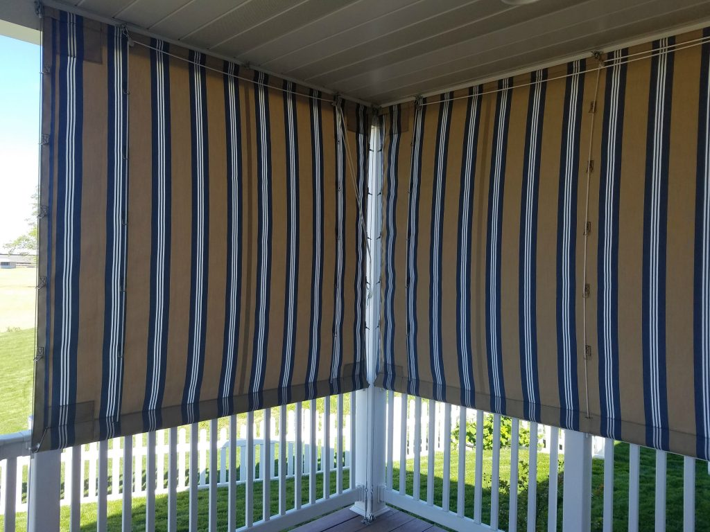 Pleated Drop Curtains Installed On A Porch Kreider S Canvas Service Inc