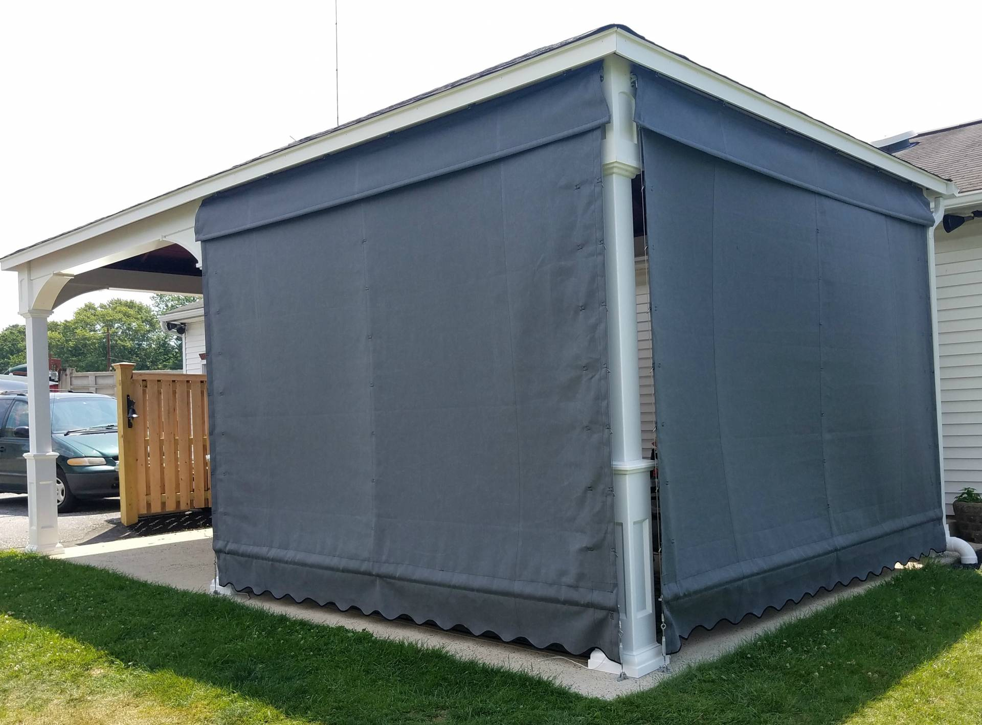 Pleated Drop Curtains Installed On A Gazebo Kreider S
