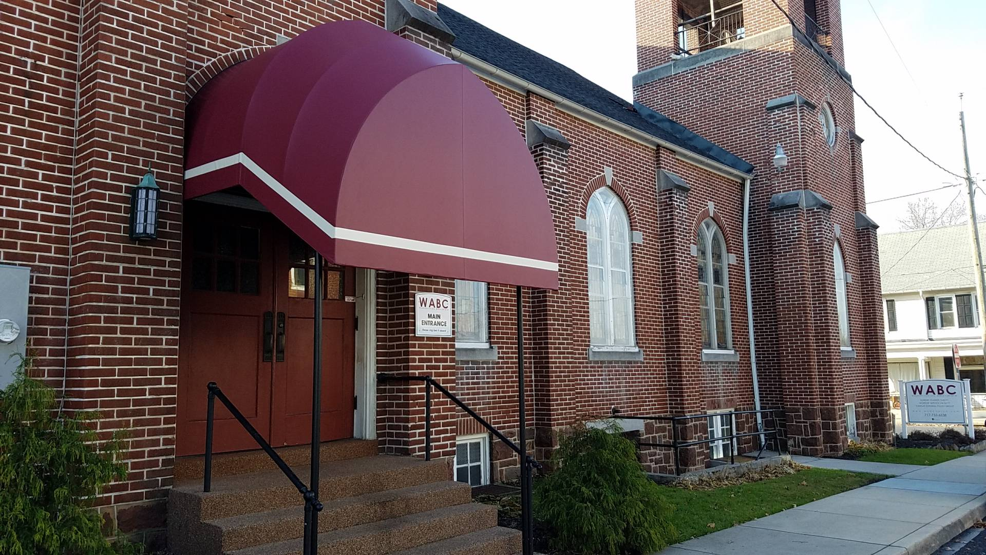 Entrance Canopy Installed Over Stairs At A Church