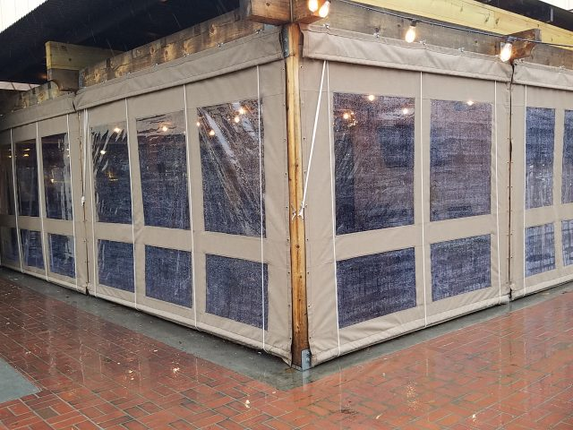 Restaurant drop curtains enclosure - World of Beer Exton