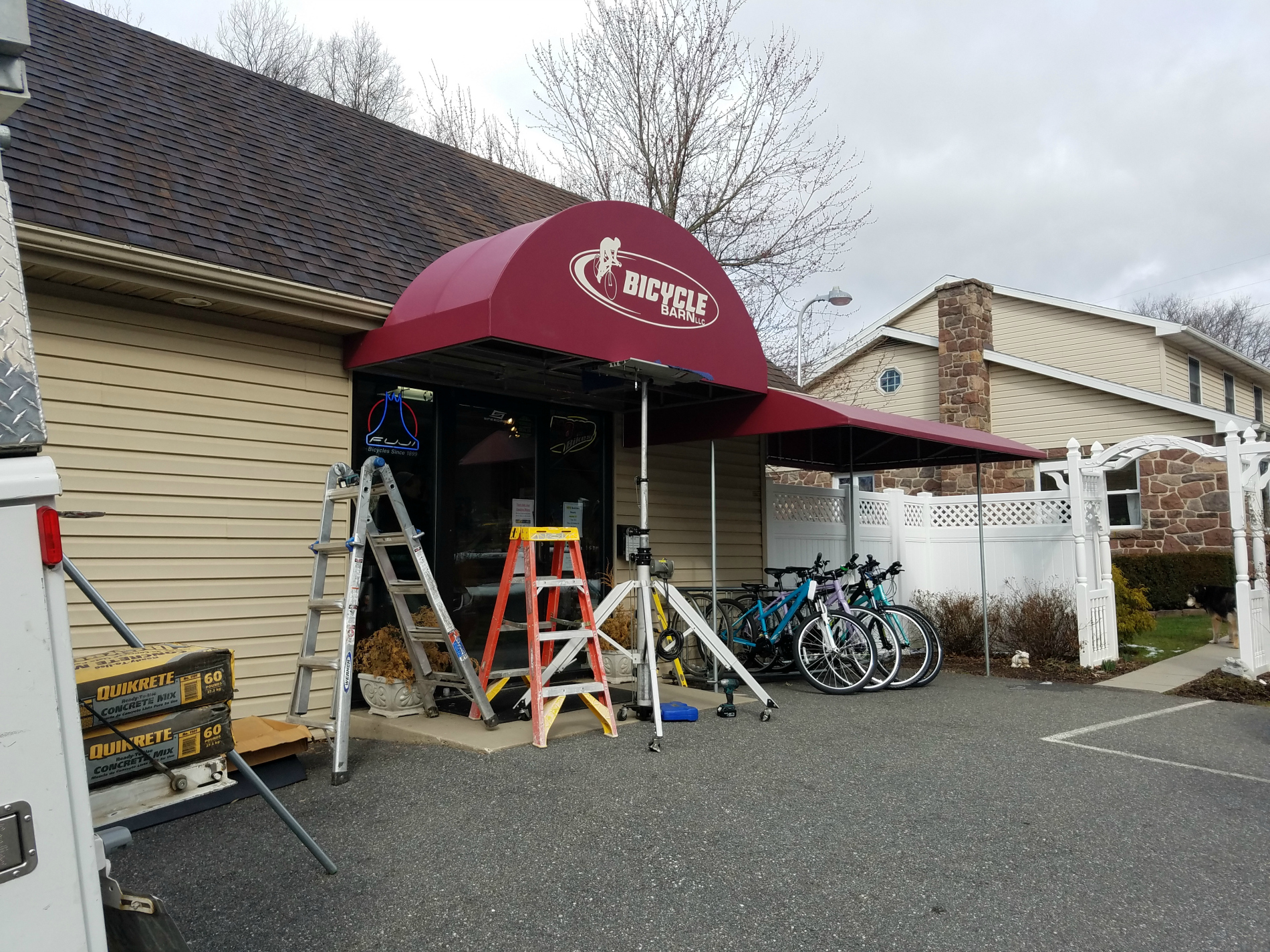 Bicycle Barn Radius Entrance Canopy Kreider S Canvas
