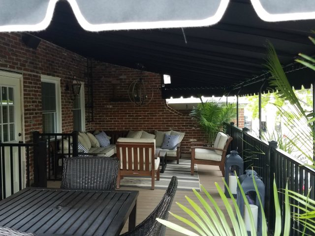 Sunbrella fabric patio cover - stationary canopy