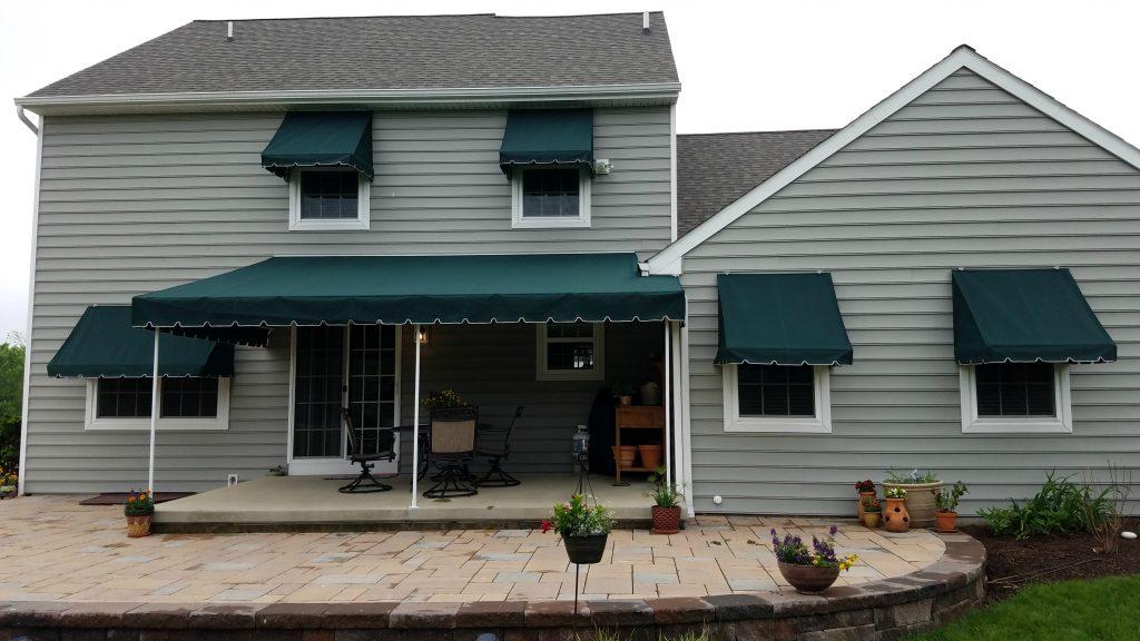 Patio canopy with window awnings - Sunbrella fabric ...