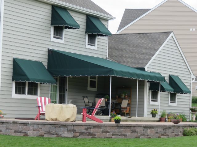 Sunbrella stationary canopy with window awnings