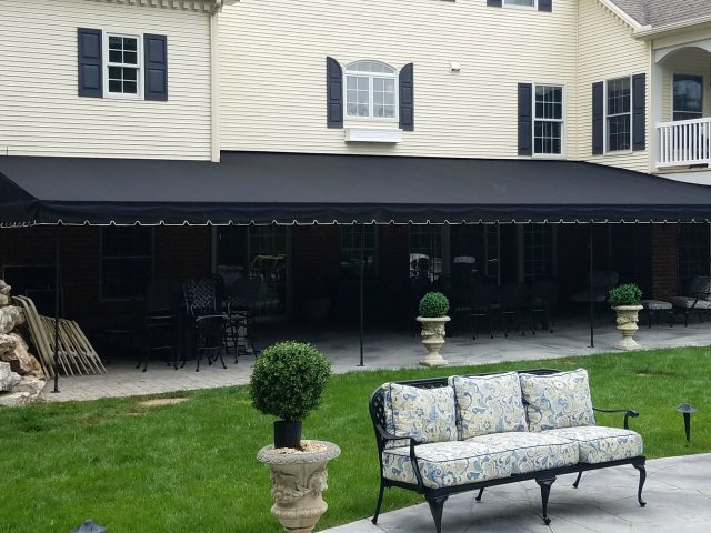 Stationary canopy - Black Sunbrella Fabric 4608
