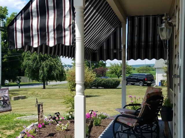 Porch Awning With A Pleated Drop Curtain Kreider S