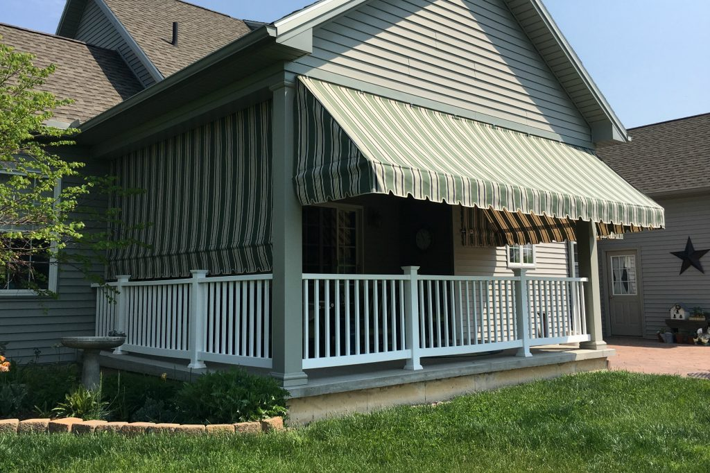 Green striped porch awnings with a drop curtain | Kreider ...