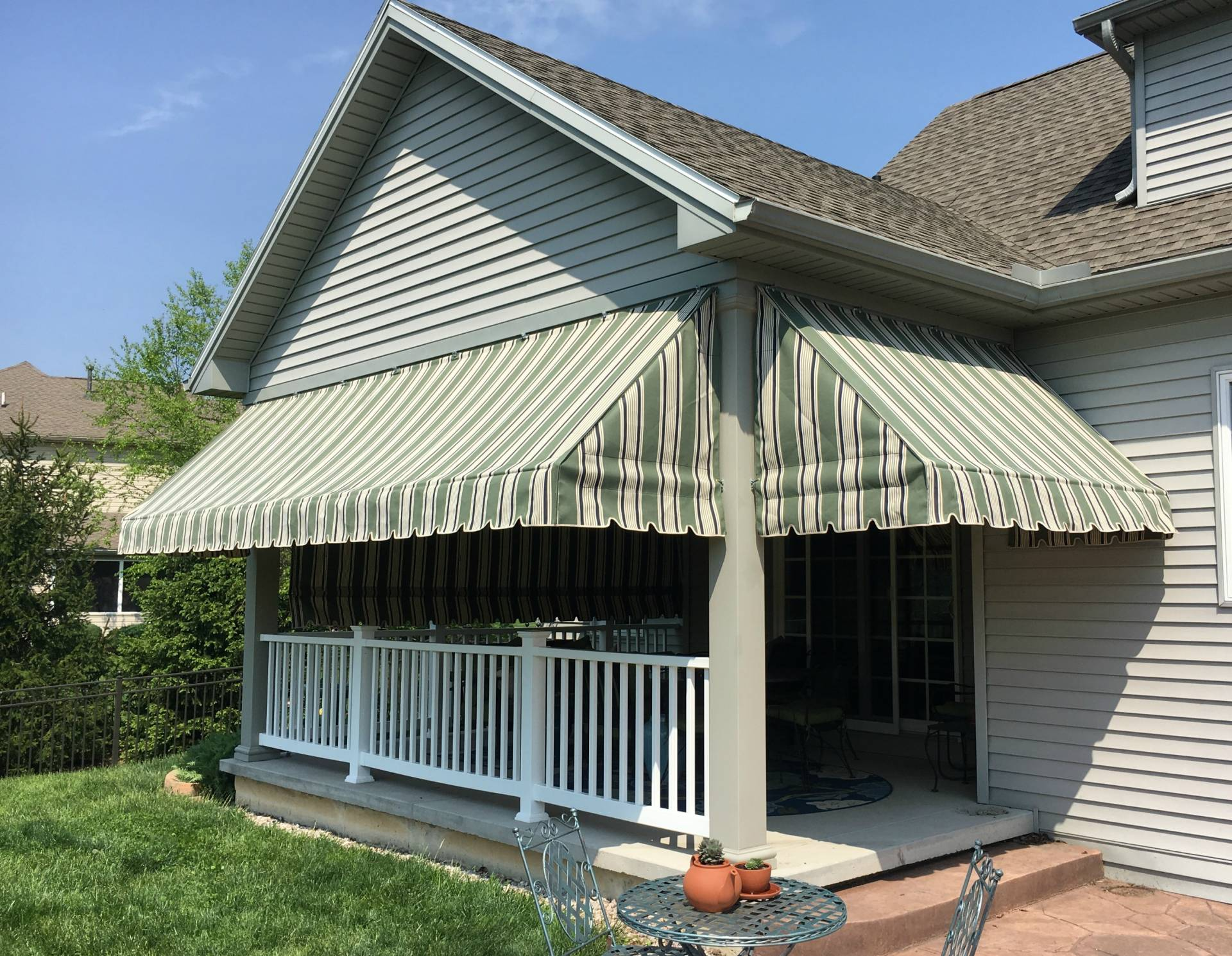 Green Striped Porch Awnings With A Drop Curtain Kreider