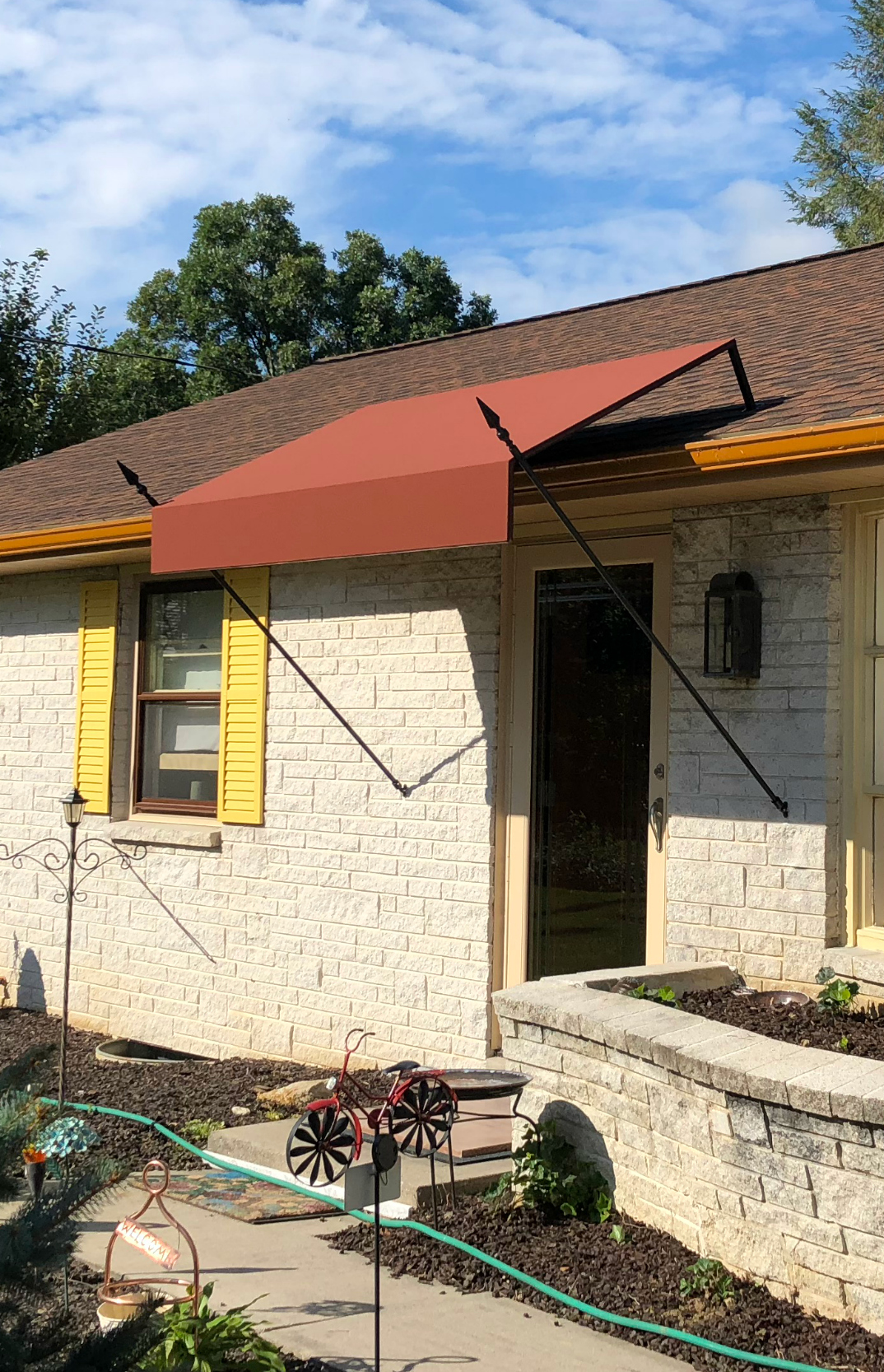 Southern style doorhood awning with spear supports ...