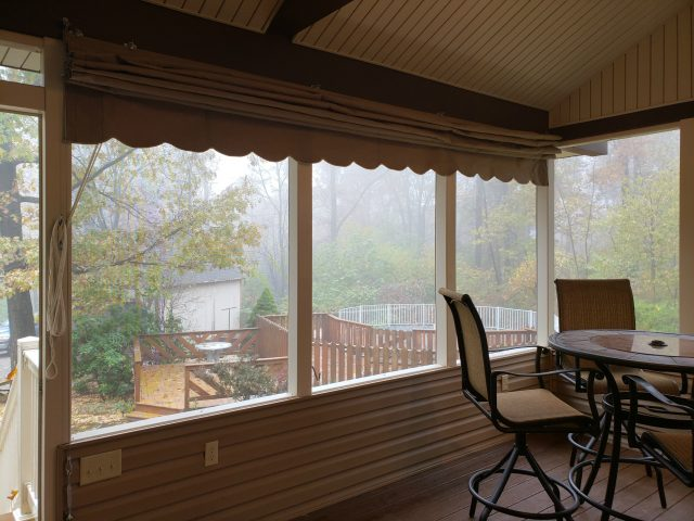 fabric blinds for outdoor living areas such as screen porches, pergolas or gazebos