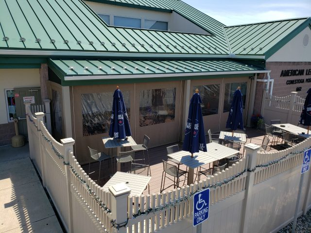 new holland VFW American Legion drop curtain enclosure outdoor dining area
