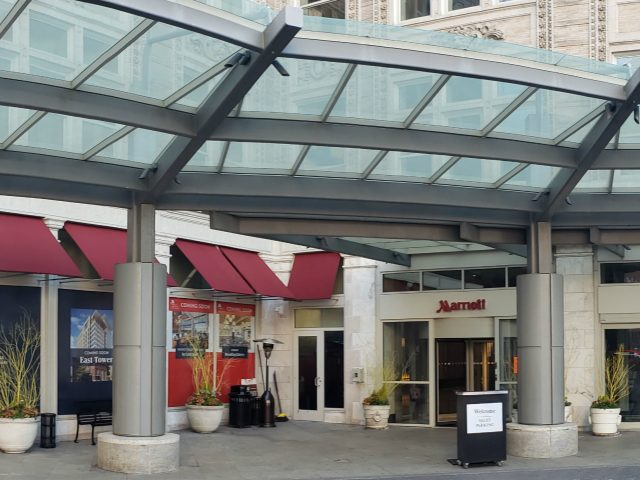 commercial grade sunbrella fabric awnings hotel marriott convention center lancaster pa