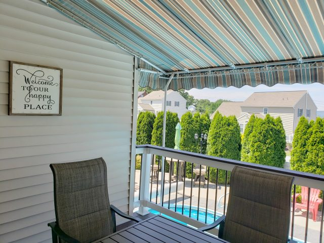 outdoor living room - stationary canopy - sunbrella fabrics