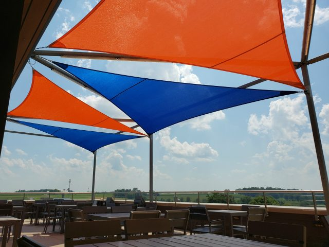 shade sails tension structure outdoor dining patio canvas fabric