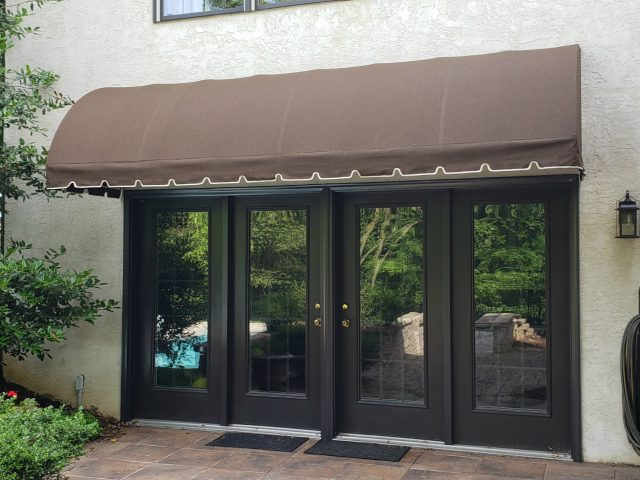 waterfall style entrance doorhood awning fabric canvas sunbrella cover covering lancaster pa